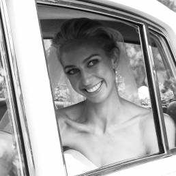 Video Still: Happy bride arrives in a car